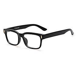 Cyxus Blue Light Blocking Computer Glasses for Anti Eye Strain UV Transparent Lens Black Frame Reading Glass Unisex (Men/Women) (classic black)