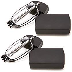 DOUBLETAKE 2 Pack Compact Folding Readers Reading Glasses w Case – 1.50x