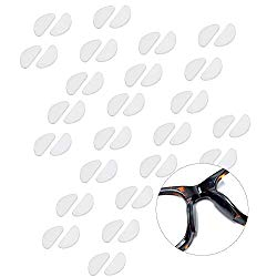 Gizhome 25 Pairs Eyeglasses Nose Pads Glasses Adhesive Silicone Anti-Slip Nosepads for Glasses Eyeglasses Sunglasses(Clear, 1 mm Thick)