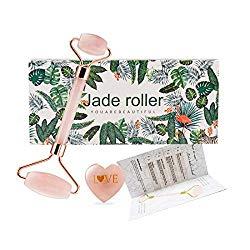 Jade Roller – 100% Natural Rose Quartz Massager Anti-Aging Facial – Eye Puff Treatment Healing Neck Weight Loss Skin Care Tool Jade Roller (Rose)