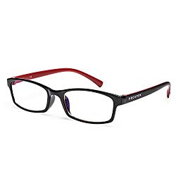 PROSPEK – Premium Computer Glasses – Professional – Blue Light and Glare Blocking (+0.00 (No Magnification) | Regular Size, Red and Black)