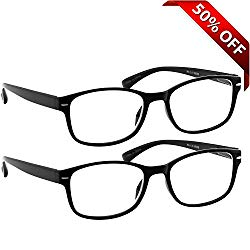 Reading Glasses 2 Pack Black_ Always Have a Timeless Look, Crystal Clear Vision, Comfort Fit With Sure-Flex Spring Hinge Arms & Dura-Tight Screws 100% Guarantee +1.50
