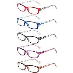 Reading Glasses 5 Pairs Fashion Ladies Readers Spring Hinge with Pattern Print Eyeglasses for Women (5 Pack Mix Color, 2.0)