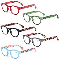 Reading Glasses Fashion Men and Women Readers Spring Hinge with Pattern Design Eyeglasses for Reading (5 Pack Mix Color, 2.0)