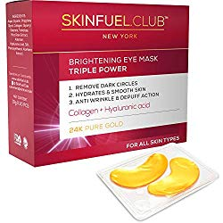 24K gold collagen eye mask by SkinFuel.Club – Eye Mask for puffy eyes and dark circles | Anti aging & anti wrinkle eye patches | Undereye bags treatment & Hydrating pads for Men & Women (20 Pairs)