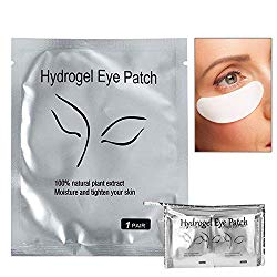 Eyelash Extension Eye Pad, 100 Pairs Under Eye Pads, Lint Free DIY False Lash Extension Beauty Makeup Hydrogel Gel Eye Patches with Transparent Cosmetic Bag