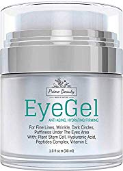 Prime Beauty – Eye Gel – Puffiness, Wrinkles, Bags, Fine Lines, Dark Circles Under and Around Eyes With Hyaluronic Acid, Jojoba Oil, Peptides, Organic Anti Aging Blend for Men & Women