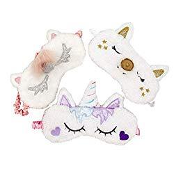 [3 PACK] MicroBird Unicorn Sleeping Mask Cute Unicorn Horn Soft Plush with silk, Blindfold Eyeshade for Kids and Women