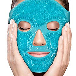 Face Eye Mask Gel Cold Pack – Reduce Puffiness, Bags Under Eyes, Puffy Dark Circles, Migraine – Therapeutic Heat and Ice Compress with Cover – for Sleep, Sinus Pressure, Headaches, Skin Care – Blue