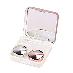 ROSENICE Contact Lens Case Mini Travel Portable Contact Case Container Holder(Light Pink)