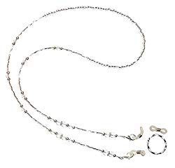 Crystal OR Black & Silver beaded Eyeglass Holder 28″ on 19 strand wire, Eyeglass chain, leash (Crystal)