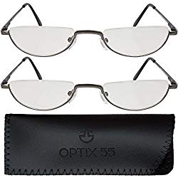 2 Men's Half Frame Reading Glasses With Pouch – Comfortable Gunmetal Frame with Rubber Tip Temples – Pack of 2 Readers – By Optix 55 (Gunmetal Grey, 225.00)