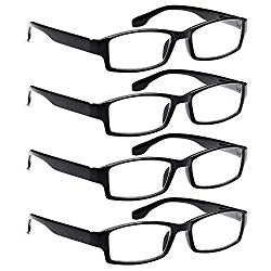 ALTEC VISION 4 Pack Spring Hinge Black Frame Readers Reading Glasses for Men and Women – 1.25x