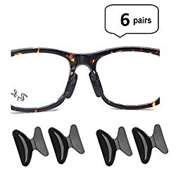 AM Landen 6 Pairs 2.5mm Black Non-Slip Silicone Stick on Nose Pads for Eyeglass Nose pad