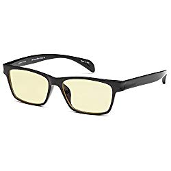 GAMMA RAY 003 UV Glare Protection Amber Tinted Computer Readers Glasses Anti Harmful Blue Rays in Shatterproof Memory Flex Frame – +0.00 Magnification
