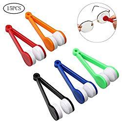 HSAN 15 Pcs Sun Glasses Cleaner,Mini Eyeglass Cleaner Microfiber Spectacles Cleaner Sun Glasses Bursh Soft Brush Cleaning Tool for Eyeglass