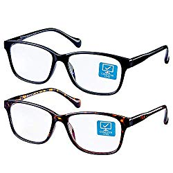 K KENZHOU Blue Light Blocking Computer Glasses 2 Pack Anti Eye Eyestrain Unisex(Men/Women) Glasses with Spring Hinges UV Protection Twilight and Black