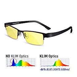 KLIM Optics – Blue Light Blocking Glasses – Reduce Eye Strain and Fatigue – Blue Blocker Gaming Glasses PC Gamer Mobile TV – High Protection for Screens and UV – Blue Blockers Computer Reading Glasses
