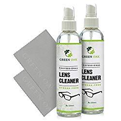 Lens Cleaner Kit – Green Oak Premium Lens Cleaner Spray for Eyeglasses, Cameras, and Other Lenses – Gently Cleans Bacteria, Fingerprints, Dust, Oil (2 Pack)