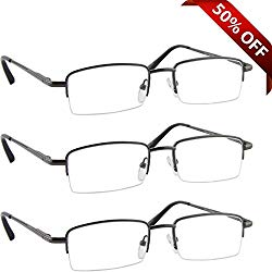 Reading Glasses Best 3 Pack Gunmetal for Men and Women Have a Stylish Look and Crystal Clear Vision When You Need It! Comfort Spring Arms & Dura-Tight Screws 100% Guarantee +2.00