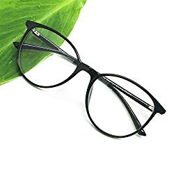 Reading Glasses – Blue Light Blocking – Round Women Men (Black, 0.00)