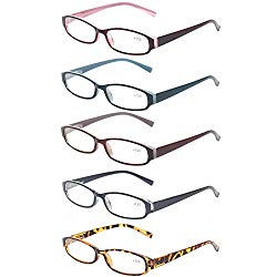 Reading Glasses Comb Pack of Multiple Fashion Men and Women Spring Hinge Readers (5 Pack Mix Color, 2.0)