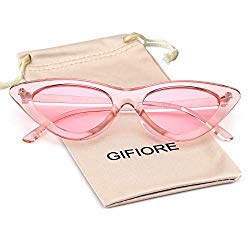 Clout Goggles Cat Eye Sunglasses Vintage Mod Style Retro Kurt Cobain Sunglasses (Transparent Pink, 51)