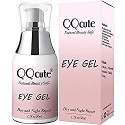 Eye Gel, QQcute Day & Night Anti-Aging Eye Treatment Cream for Wrinkle, Dark Circle, Fine Line, Puffy Eyes, Bags Best Hydrogel Eye Moisturizer for Women Mother's Day Gift – 1.7 fl oz.