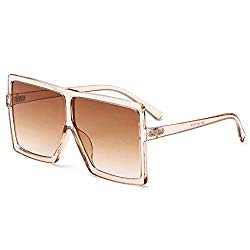 GRFISIA Square Oversized Sunglasses for Women Men Flat Top Fashion Shades (clear orange/tea lens, 2.56)