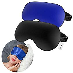 HYFEEL Sleep Mask 2 Pack Eye Mask For Sleeping Soft Silk Light Blocking Blindfold Eyeshade Cover with Elastic Strap for Travel Women Man Kids Portable Sleep Aid for Nap Black and Blue