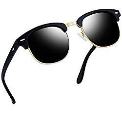 Joopin Semi Rimless Polarized Sunglasses Women Men Retro Brand Sun Glasses (Matte Black Frame Grey Lens)