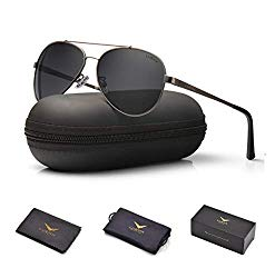 LUENX Men Women Aviator Sunglasses Polarized Grey Lens Gun Metal Frame with Accessories UV 400 60MM