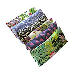 Peacegoods Aromatherapy Eye Pillow – Bundle of (6) – 4.5 x 9 – Organic Lavender Chamomile Flax Cotton – Removable Cover Washable – green black pink purple bird butterfly flowers leaves