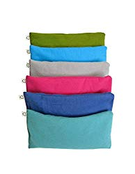 Peacegoods Unscented Organic Flax Seed Eye Pillow – Pack of (6) – Soft Cotton Flannel 4 x 8.5 – Pink Green Purple Gray Fuschia Aqua Turquoise Blue