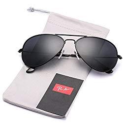 Pro Acme Classic Polarized Aviator Sunglasses for Men and Women UV400 Protection (Black Frame/Black Lens)