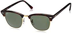 Ray-Ban, Clubmaster Sunglasses, Non-Polarized, Acetate Frame, Glass Lenses, Mock Tortoise/Arista Frame, Crystal Green G-15 Lenses, 51 mm