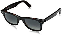 Ray-Ban Wayfarer Square Sunglasses, Top Grey on Havana, 50 mm