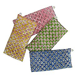 Scented Eye Pillows – Pack of (4) – Soft Cotton 4 x 8.5 – Organic Lavender Flax Seed – hand block print India – leaf blue yellow pink green