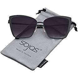 SOJOS Cateye Sunglasses for Women Fashion Mirrored Lens Metal Frame SJ1086 with Matte Black Frame/Gradient Grey Lens