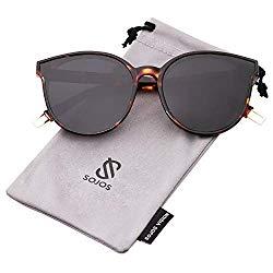 SOJOS Fashion Round Sunglasses for Women Men Oversized Vintage Shades SJ2057 with Tortoise Frame/Grey Lens