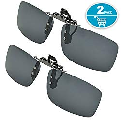 Splaks Clip-on Sunglasses, Unisex Polarized Frameless Rectangle Lens Flip Up Clip on Prescription Sunglasses Eyeglass, 2-Piece Clip on Glasses + Night Vision Glasses – Black
