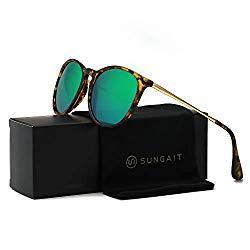 SUNGAIT Vintage Round Sunglasses for Women Classic Retro Designer Style (Amber Frame/Green Lens)