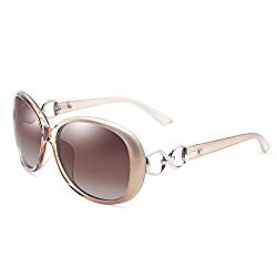 VeBrellen Luxury Women Polarized Sunglasses Retro Eyewear Oversized Goggles Eyeglasses (Champagne Frame With Brown Lens, 60)