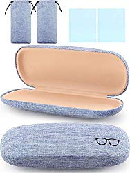 2 Pieces Hard Shell Eyeglasses Case Retro Portable Glasses Case with Cleaning Cloth and Drawstring Bag for Daily Using(Blue)