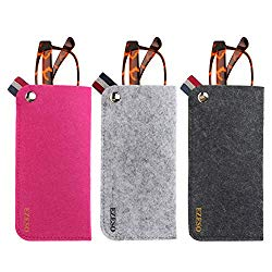 3 Pack Eyeglass Cases – Soft Felt Slip-in Pouch Case – Glasses Storage Case Makeup Pouch (Set A)