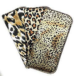 3 Pack Soft Eyeglass Slip in Cases for Women & Men In A Variety of Colors & Patterns (Animal Print)