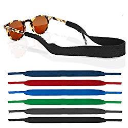 6 Pack Neoprene Glasses and Sunglasses Strap, Anti Slip Sport Eyewear Retainer Holder Strap – 6 Colors
