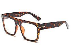 Allt Unisex Oversized Square Optical Eyewear Non-prescription Eyeglasses Flat Top Clear Lens Glasses Frames (Leopard)