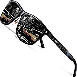 ATTCL Men's Driving Polarized Sunglasses Al-Mg Metal Frame Ultra Light 7001 Black