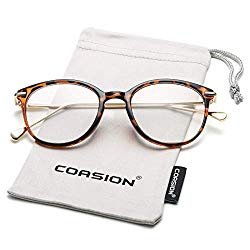 COASION Vintage Round Clear Glasses Non-Prescription Eyeglasses Frames for Women Men (Tortoise/Gold)